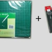 Paket Cutting mat A4+pen cutter SDI murah