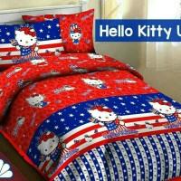 Jual Sprei Katun Motif Hello Kitty USA, 90x200, Kado, Hadiah, Keren Murah