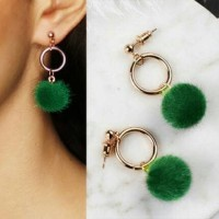 Jual Anting - Pompom Ring Stud Earrings Dark Green 02C7EDr Murah
