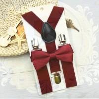 Jual suspender dasi kupu anak dn bayi set suspenders merah maroon import Murah