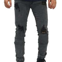 Jual Jeans Thigh And Knee Rips Ankle Zip Grey Murah