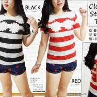 Jual Cloudy strip RO - blouse wanita spandek merah dan hitam Limited  Murah