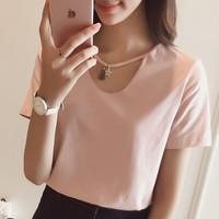 Jual Dijual atasan blouse pink wanita model double neck sabrina fas T3009 Murah