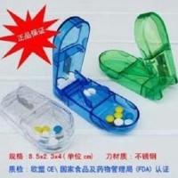 Jual Kotak obat plus pisau potong obat medicine (WARNA: HIJA Diskon Murah
