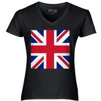 Jual Kaos Wanita Distro Bendera Inggris Union Jack Kaos V Neck Premium Murah
