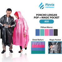 Jual Jas Hujan Ponco LENGAN POLKADOT Pop Plus Magic Pocket Plevia 850Poncho Murah