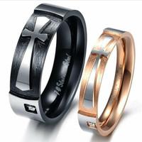 cincin couple/kawin. bentuk salib. asli dari titanium. free ukir nama.