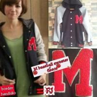 Jual Jaket Wanita M Baseball Sweater Fleece Murah