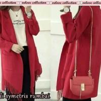 Jual Cardi simetri merah Pakaian Wanita Cardi Rumbai Simetris Murah