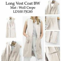 Jual DAPATKAN TERBATAS long vest coat white RO longvest wanita woll crepe Murah