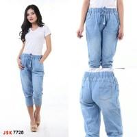 Celana Pendek Pinggang Karet Joger Jeans Wanita IM 7728
