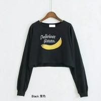 Jual Promo diskon grosir murah blouse tunik top crop banana hitam Murah
