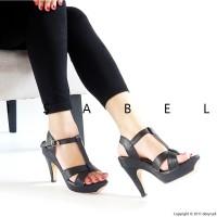 Jual Sandal Wanita IZ67 T-Strap Platform Heels - Black Murah