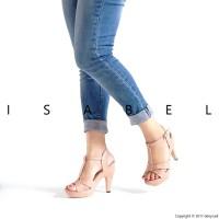 Jual Sandal Wanita IZ67 T-Strap Platform Heels - Peach / Pink Murah