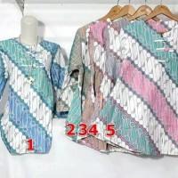 Jual tunik batik kerja blouse etnik model terompet 8 Murah