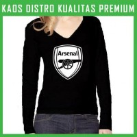 Jual Kaos Arsenal Logo 3 Wanita Cewek Lengan Panjang WLP-ARS03 Murah