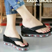 Jual |CRS| SUPER MURAH SANDAL WEDGES SPON HELLO KITTY HK HITAM ( REPLIKA ) Murah