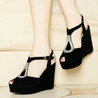 Jual |CRS| SUPER MURAH EXCLUSIVE - WEDGES AMELIA HITAM 12CM Murah