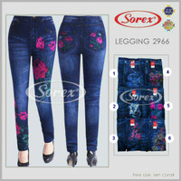 Jual Promo ! Celana 2966 Wanita Legging Panjang Stretch Motif Jeans Flower  Murah