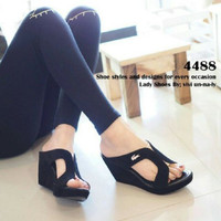 Jual BEST SELLER [WEDGES] DH196 HITAM Murah