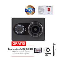 Jual Xiaomi Yi Action Cam-16MP-Hitam+Bcare 32GB+Waterproof case+Monopod Murah