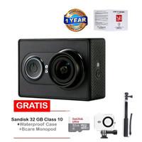 Jual Xiaomi Yi Action Cam-16MP-Inter-Hitam+San 32GB+Monopod+waterproof case Murah