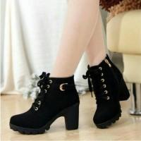 Jual Sepatu Wanita Boots Heels BT02 Hitam Murah