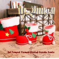 Jual Set Tempat Permen Bentuk Sepatu Santa ( 1 set isi 3 pcs ukuran berbeda Murah