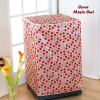 Jual Cover Mesin Cuci STRAWBERRY (Bahan satin tebal, anti air, anti panas) Murah