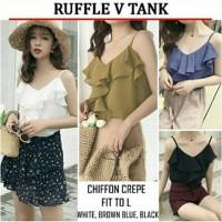 Jual Baju Atasan Wanita Ruffle V Tank Bahan chiffon crepe fit to L 1AB Murah