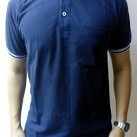 Kaos Polo Shirt Biru Tua Kerah Abu Lengan Pendek KKBT