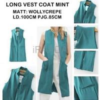 Jual Baju Outer Wanita Long Vest Coat Mint Terbaru Murah
