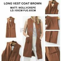 Jual Baju Outer Wanita Long Vest Coat Brown Terbaru Murah