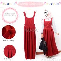 Jual Baju Dress Annie Overall Merah Katun Rayon Terbaru Murah