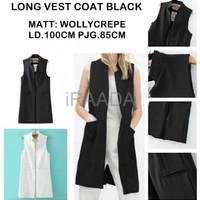 Jual Baju Outer Wanita Long Vest Coat Black Terbaru Murah
