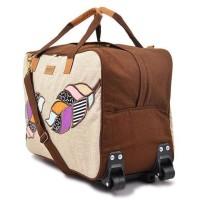 Jual Tas Trolley Lipat Travel Bag Kanvas Maika Etnik AGAM BROWN utk Wanita Murah