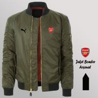 Jual Jaket Bomber Fashion Pria Hijau Tua Logo Arsenal Murah