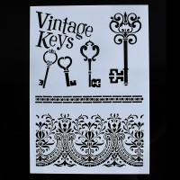 Stencil A4 Vintage Keys - Stensil Lukis Cake Craft Scrapbook Airbrush