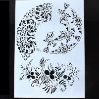 Stencil A4 Round Template- Stensil Lukis Cake Craft Scrapbook Airbrush