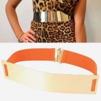 Mirror Surface Wide Design Orange Ikat Pinggang Wanita Fashion Branded