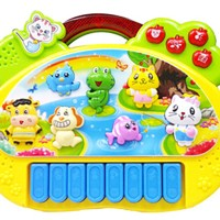 Mainan Anak - Cartoon Piano Animal Music Suara Binatang Keyboard Lampu