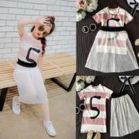 baju anak cewek setelan dress garis pink+rok tutu import