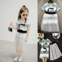 baju anak cewek setelan dress garis hijau+rok tutu import