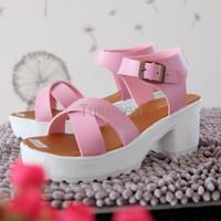 Jual Sepatu Wanita Cewek Wedges Platform Nv02 Murah