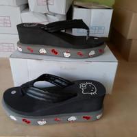 Jual Sepatu Wanita Cewek Sandal Jepit Spon Hello Kitty Dn19 Hitam Murah