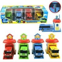 Mainan 2004 Tayo The little Bus Dilengkapi Garasi Press n Go Isi 4
