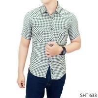 Jual  Mens Short Sleeve Flannel Shirts  SHT 63 KODE FF1357 Murah