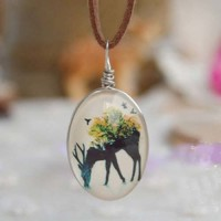 Jual Kalung Fashion Deer on the back of the forest gemstone necklace Murah