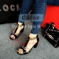Jual Sepatu Wanita Cewek Black Chloe Hak Tahu KND Murah