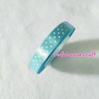 Jual Pita satin polkadot biru muda ukuran 0,5 inch Murah